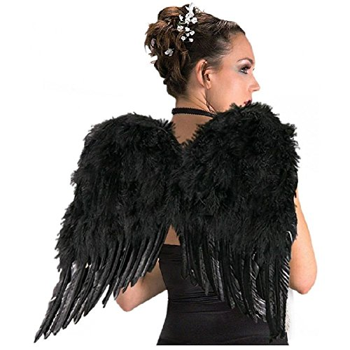 Deluxe Black Feather Wings Adult Dark Fairy Fallen Angel Halloween Costume -