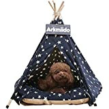 Arkmiido Pet Teepee Dog & Cat Bed with Cushion- Luxery Dog Tents & Pet Houses with Cushion & Blackboard (Blue)