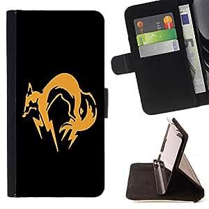 BullDog Case - FOR/Samsung Galaxy S6 / - / Orange Fox /- Monedero de cuero de la PU Llevar cubierta de la caja con el ID Credit Card Slots Flip funda de cuer