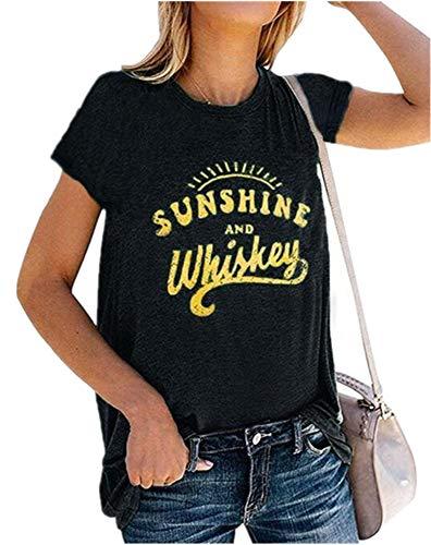 rosemia Women Tank Tops Cotton Print Teeshirts Summer Short Sleeve Casual Tunic Blouses (Black, XL)