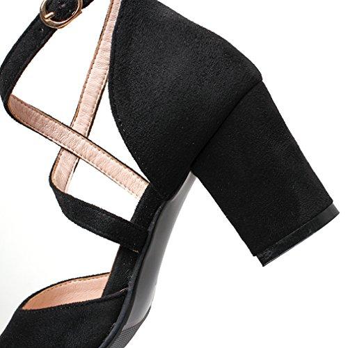 YE Damen Geschlossen Riemchen High Heel Pumps mit Schnalle und 7cm Blockabsatz Süß Schuhe Schwarz
