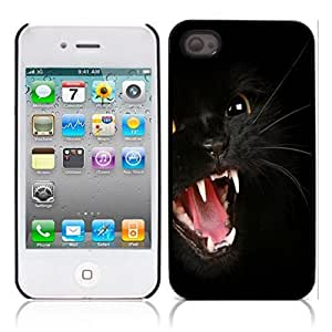 nazi diy Black Cat Kitty Hard Plastic and Aluminum Back Case for Apple iphone 4 4S