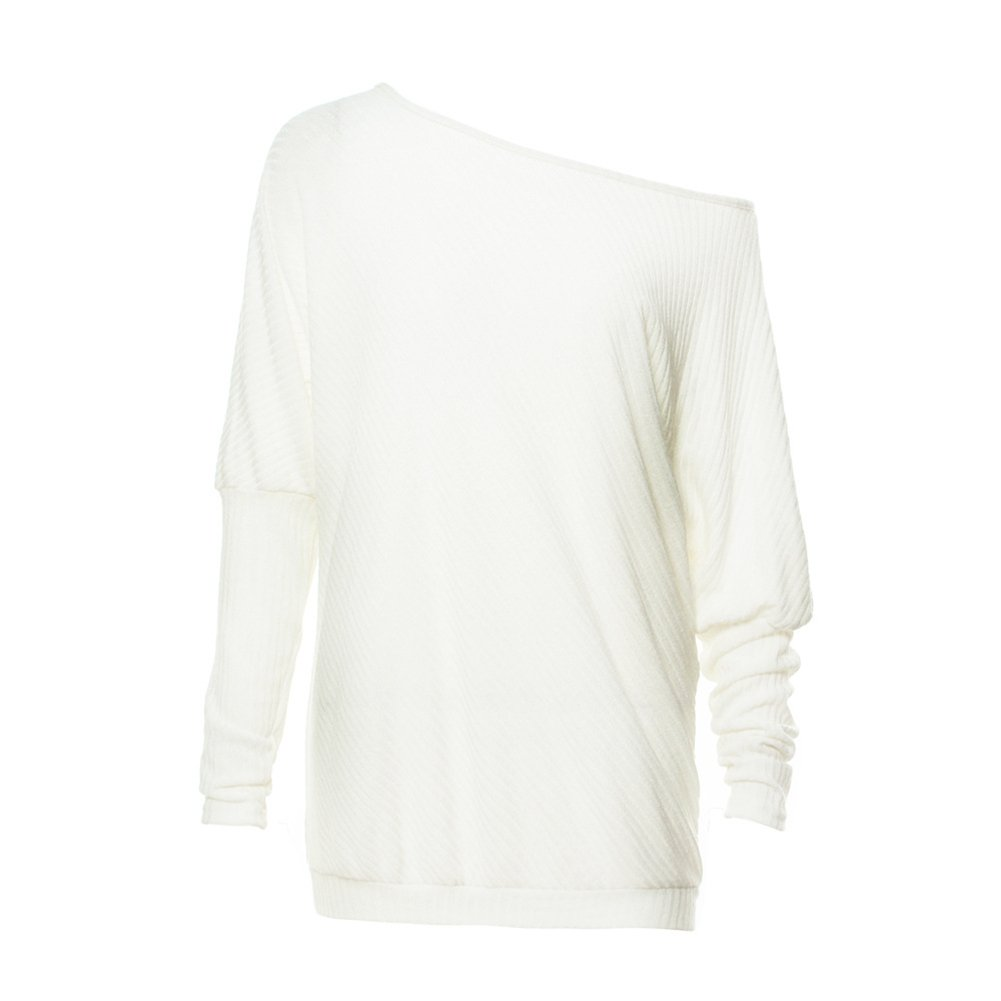 Women's Off Shoulder Batwing Sleeve Loose Pullover Sweater Knit Jumper by GOLDSTITCH (Image #3)