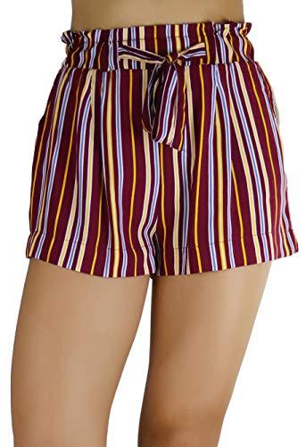 (ToBeInStyle Women's Multi-Stripe Woven Paperbag Shorts - Burgundy - S )