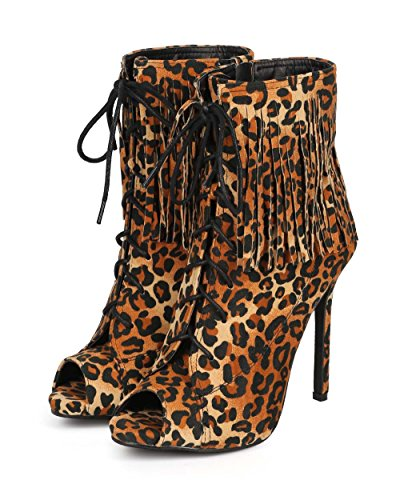 Fringe Stiletto Toe DK70 Up Bootie Leopard Women Leopard Liliana Peep Lace CtAgq4wx