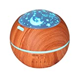 Yrd Tech Light and shadow Wood grain aromatherapy machine Ultrasonic home Creative atmosphere Night light aromatherapy humidifier (Brown)