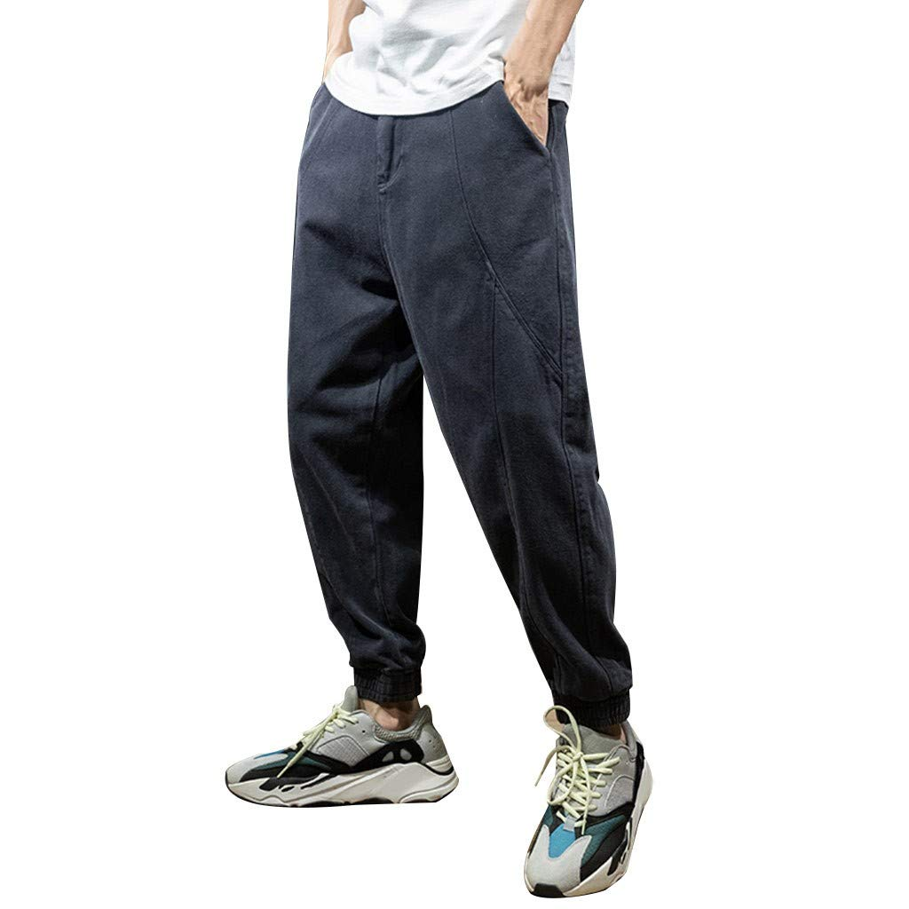 Men's Jogger Sports Pants - Men Boys Wide Leg Outdoor Workout Ankle-Length Harem Trousers - Casual Relaxed Fit Sweatpants