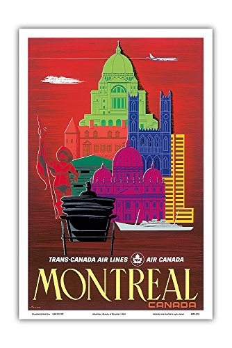 Montreal, Canada - TCA (Trans-Canada Air Lines) - Air Canada - Vintage Airline Travel Poster by Egmond c.1960s - Master Art Print - 12in x 18in (Canada Airlines Tca Trans)