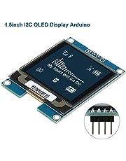 Módulo de pantalla OLED I2C Pantalla LCD Arduino de 1,5 pulgadas con panel OLED Chip de controlador SSD1327,128x128 píxeles,Nivel de gris de 16 bits con interfaz I2C,DC 3.3V / 5V para Arduino