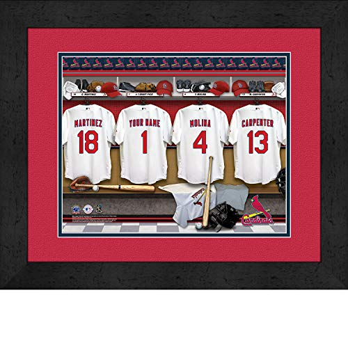 (St. Louis Cardinals Personalized MLB Baseball Locker Room Jersey Framed Print 14x18 Inches)