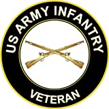 "3.8"" US Army Infantry Veteran Decal Sticker"