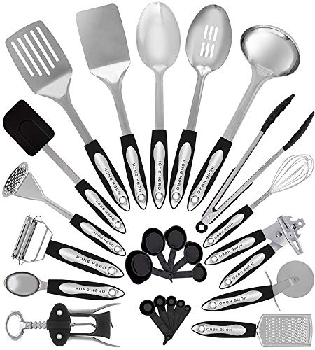 Home Hero Stainless Steel Kitchen Cooking Utensils - 25 Piece Utensil Set - Nonstick Kitchen Utensils Cookware Set with Spatula - Best Kitchen Gadgets Kitchen Tool Set (Best Kitchen Utensils Brand)