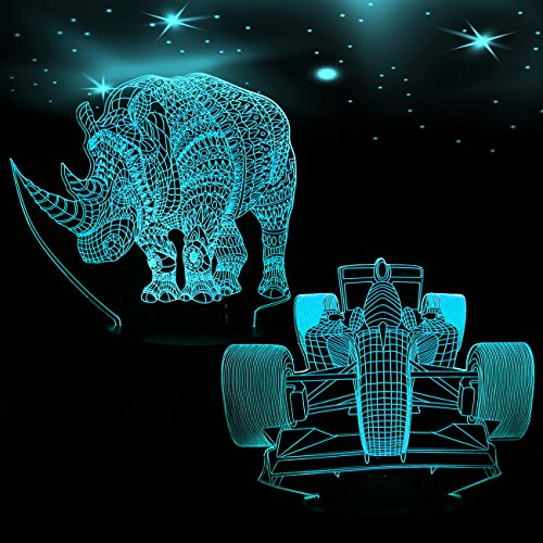 Night Light,3d Night Light Beside Lamp Help Kids Feel Safe at Night 7 Colors Perfect Birthday Gift for Kids Great Toy Gift Idea for Kids 2 Acrylic Flat 1 ABS Base (Rhinoceros& Racing Car)