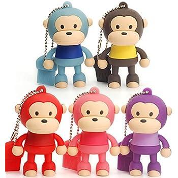 LEIZHAN 5X8GB Cute Monkey USB2.0 Flash Drive High Speed Storage Gift Pen Drive for Kids