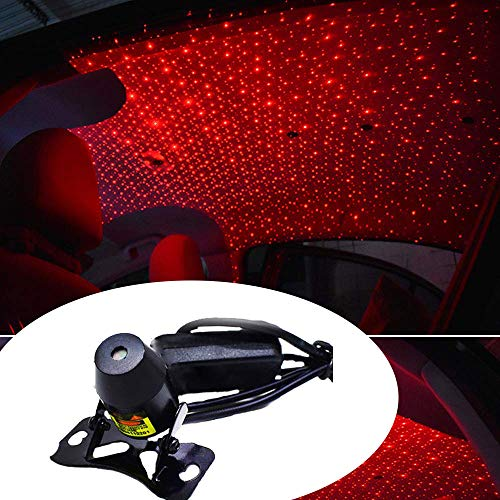 CADE Laser Atmosphere Ambient Star led Glow The interiors USB 100mw No Need to Install(Red-Starry Sky)(Multi Mode+Remote Control)