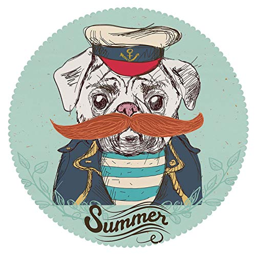 und Tablecloth [ Pug,Captain Dog with Hat Mustache Jacket and Shirt Cute Animal Funny Image Decorative,Navy Blue Pale Blue Orange ] Home Accessories Home Decoration ()