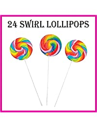 24 JUMBO Lollipop Pack for Kids (NONE BROKEN) | 12 Rainbow Large Swirl Suckers and 12 Candy Twisty Pops ? NEW IMPROVED UNBREAKABLE PACKAGING ? Fun Birthday Party Favors for Children ( 24 Pack )