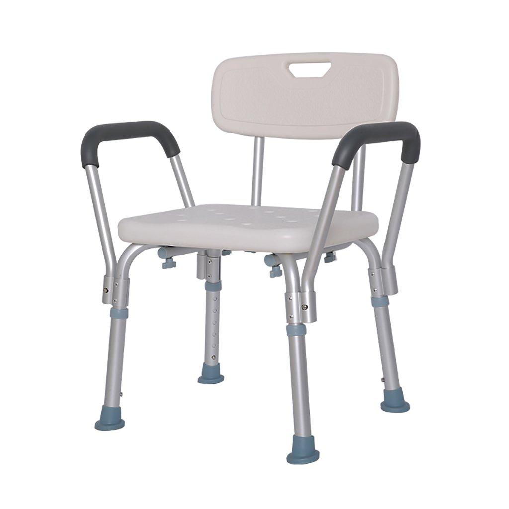 XUEPING 高齢者のバスルームのスツールアルミ高背バスチェアの椅子のシャワースツール妊婦の調節可能な高さスツールホワイト B07D92CFGQ