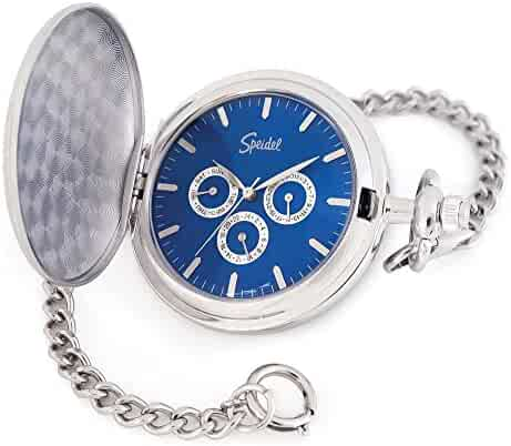 "Speidel Classic Smooth Pocket Watch with 14"" Chain Silver Tone with Blue Dial in Gift Box – Engravable"