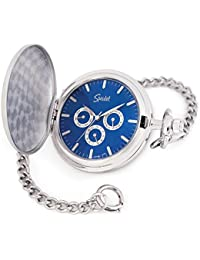 "Classic Smooth Pocket Watch with 14"" Chain Silver Tone with Blue Dial in Gift Box"