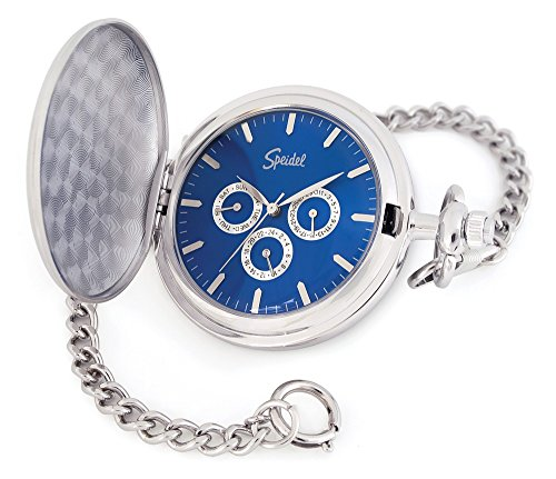 "Speidel Classic Smooth Pocket Watch with 14"" Chain Silver Tone with Blue Dial in Gift Box – Engravable (Pocket Watch Silver Date)"