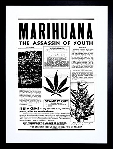 AD DRUG AWARENESS WARNING MARIJUANA WEED CANNABIS PANIC FRAME ART PRINT