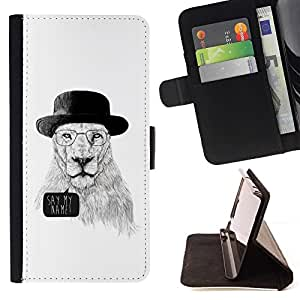 DEVIL CASE - FOR HTC One M8 - Funny Meth Cook Lion - Style PU Leather Case Wallet Flip Stand Flap Closure Cover