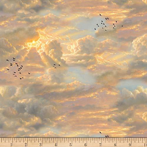 Noah's Ark Fabric (Elizabeth's Studio Noah's Ark Sky Line Fabric, Multicolor, Fabric By The)
