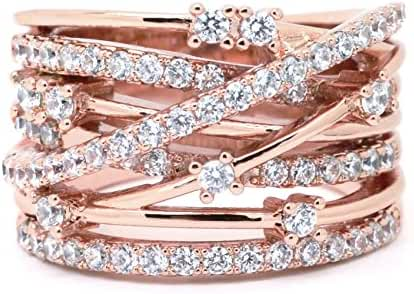 Sparkly Bride Pink Rose Gold Plated Crossover CZ Wide Band Fashion Statement Ring
