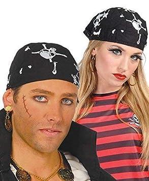Pirate Bandana Black Skull Crossbones Headwear Fancy Dress Party Accessories