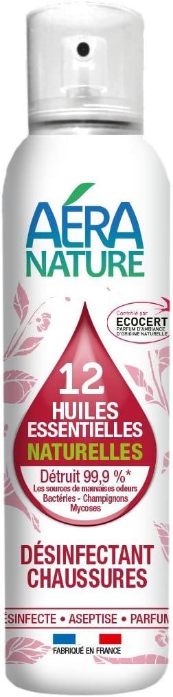 AERA NATURE: Zapatos desodorante-desodorante con 12 aceites esenciales naturelles, 125ml - bactericida, fungicida