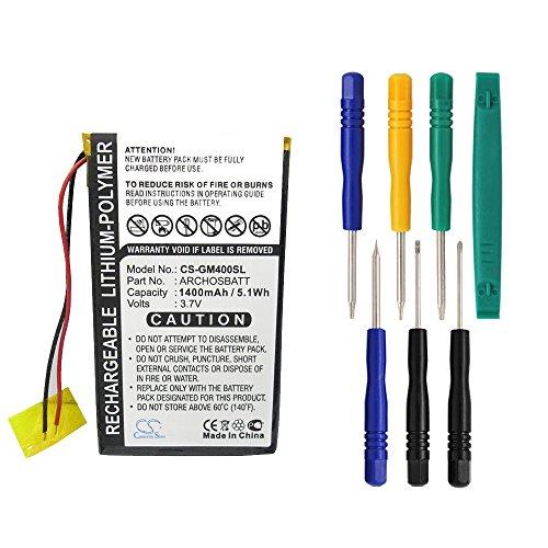 Archos Replacement Battery (Cameron Sino 1400mAh Battery Compatible With Archos Gmini 400, Gmini 402, Gmini 402CC, AV402E, PocketDISH AV402E( 7/pcs Toolskits Included))