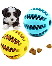 Youngever 2 Pack Dog Ball Toys for Pet Tooth Cleaning, Chewing, Fetching, IQ Treat Ball Food Dispensing Toys (Small 2 inch Diameter)
