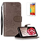 Funyye PU Leather Wallet Case for Samsung Galaxy A8 2018 Free HD Protector,Premium Lace Flower Pattern Magnetic Flip with Cash Pouch Card Slot Design Cover for Samsung Galaxy A8 2018,Gray