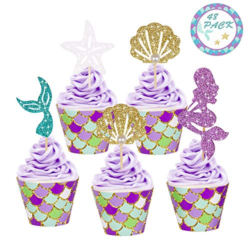 YOUTH UNION 48 Pack Mermaid Cupcake Toppers & Wrappers for Baby Shower Birthday Party Supplies Cake Decoration (48PCS)