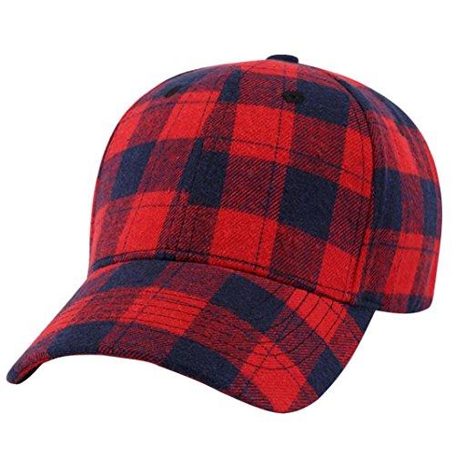 Iuhan Baseball Hat for Men and Women, Baseball Plaid Cap Snapback Hat Hip-Hop Adjustable Hat (Red)