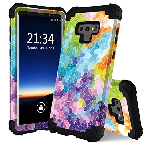 PIXIU Galaxy Note 9 case, Unique Pattern Heavy Duty Shockproof 3 in 1 hybird Rubber stury Full Body Protective case Cover Samsung Galaxy Note 9 2018 Released - Colorful Case Protective