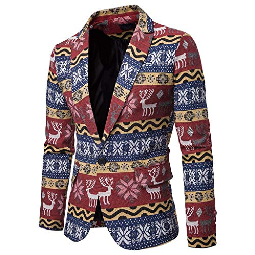 Allywit Men's Slim Fit Suits Christmas Moose Casual One Button Flap Pockets Blazer Jacket