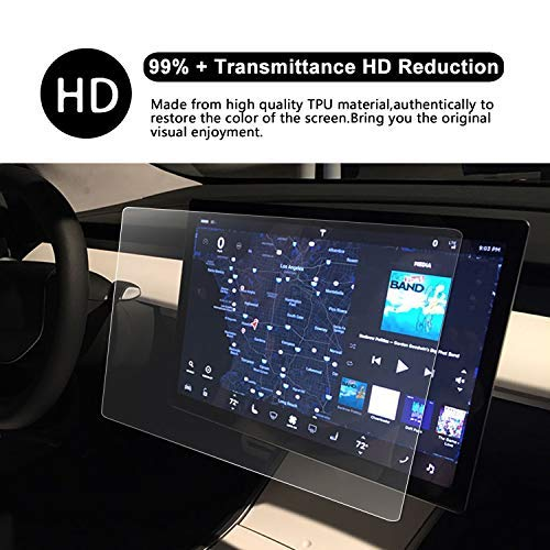 Control Screen Protector Tesla Model 3 15 HD Crystal Clear in-Dash Navigation P50 P65 P80 P80D Touch PET Plastic High Clarity Protective Film RUIYA 2 PCS