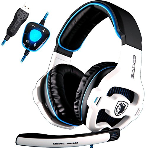 [Newly Updated Version]SADES SA903 USB 7.1 Surround Sound Stereo Gaming Headset Over Ear Headphones for PC with Microphone Volume-Control LED light (white)