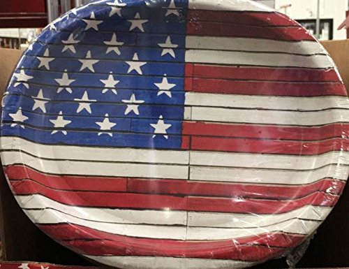 4th of July Patriotic American Wooden Flag Premium Oval Paper Plates 10 in X 12 in - 50 Count -