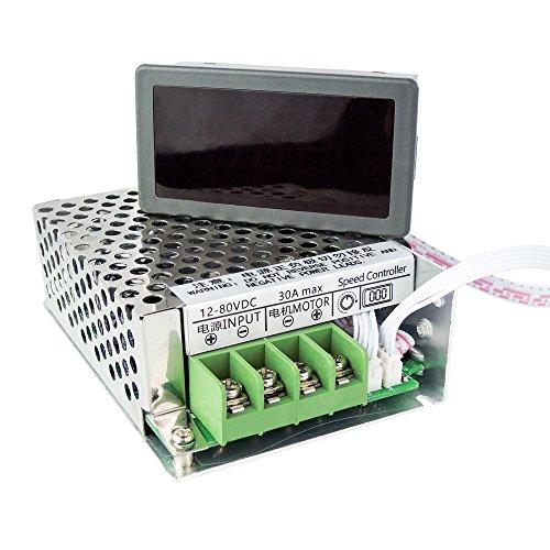 uniquegoods 12V 24V 36V 48V 60V 80V DC 30A PWM Variable Speed Regulator DC Motor Speed Controller Stepless Speed Control Switch HHO Driver Module With Digital LED Display CCM6DS-D