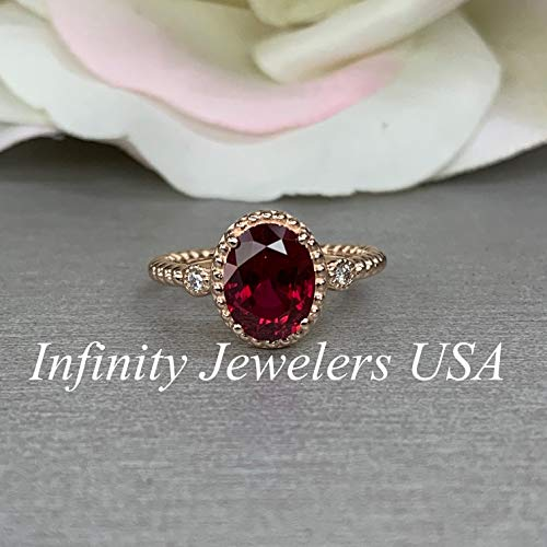 - Oval Vintage Style Ring/Red Ruby Engagement Ring / 14k Rose Gold / #6238