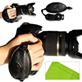 first2savvv new Artificial leather digital camera SLR hand strap grip for Canon EOS 5D Mark III with LENS Cleaning Cloth