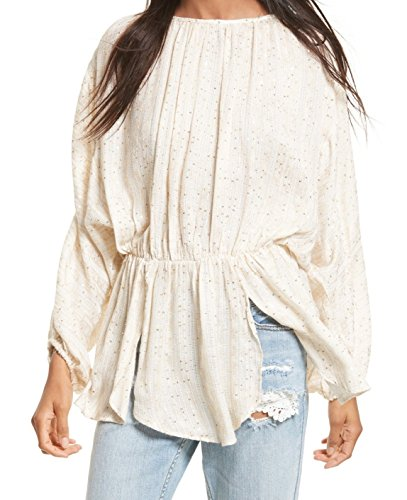Free People Womens Small Smocked Waist Tunic Top Beige (Smocked Waist Tunic)
