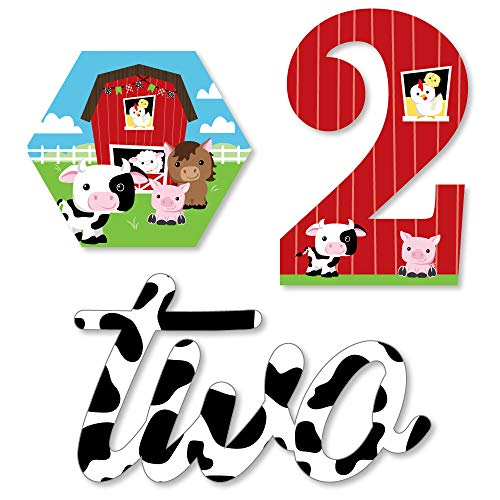 2nd Birthday Farm Animals - DIY Shaped Barnyard Second Birthday Party Cut-Outs - 24 Count -