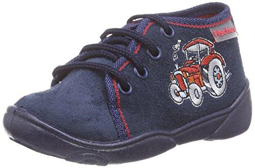 Fischer Jungen-Klett-Hausstiefel - Zapatillas de estar por casa de lana para niño azul - Blau (555 blau)