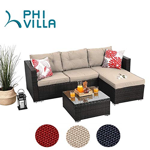PHI VILLA Outdoor Sectional Rattan Sofa – Wicker Patio Furniture Set (Beige)