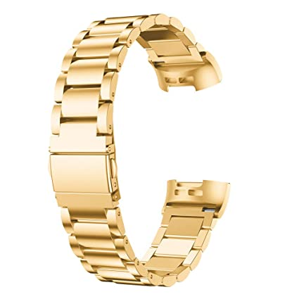 Amazon com: for Fitbit Charge 3 Bands Gold, Stainless Steel Bands