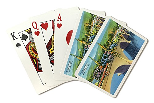 Berkshire Mountains, MA - Mohawk Trail View of Shelburne Falls Bridge of Flowers (Playing Card Deck - 52 Card Poker Size with Jokers)